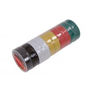 INSULATION TAPE 10 PIECES ELECTRICAL 19MM BLACK WHITE YELLOW GREEN RED CA25