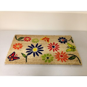 BUTTERFLY FLOWER COIR DOOR MAT PVC BACK COLOURFUL DESIGN DOORMAT ENTRANCE CA71