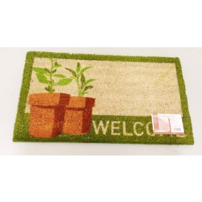 WELCOME DOORMAT POTTED PLANT 40CM X 70CM COIR PVC BACKED ENTRANCE DOORMAT CA76
