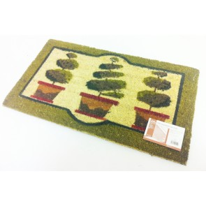 TOPIARY DESIGN COIR PVC BACKED DOOR MAT PLANT 40CM X 70CM ENTRANCE DOORMAT CA77