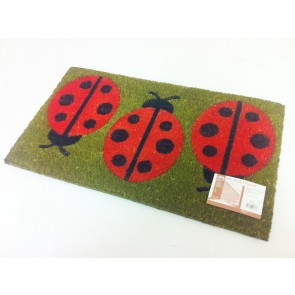 LADYBIRD COIR PVC BACKED DOOR MAT ENTRANCE LADY BUG DOORMAT MEADOW DESIGN CA78