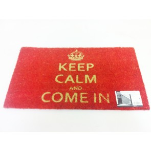 KEEP CALM & COME IN COIR PVC BACKED DOOR MAT RED ENTRANCE DOORMAT CA80