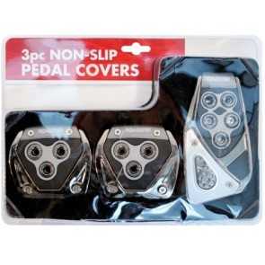CAR BRAKES CLUTCH 3 PIECE FOOT COVERS CHROME SILVER SPORTS PEDALS PLATES SET NEW