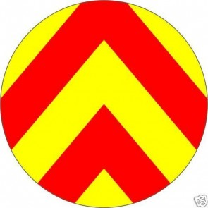 Van Road works Reflective PVC Chevron yellow red Danger Caution sign sticker