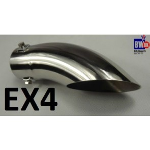 UNIVERSAL CHROME STAINLESS STEEL EXHAUST TAIL PIPE TRIM MUFFLER CURVED 60M EX4