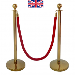 GOLD QUEUE BARRIER POSTS WITH 1.5M TWISTED RED or BLUE ROPE