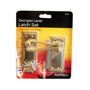 GEORGIAN LEVER LATCH SET DOOR HANDLE FITTINGS SCREWS POLISHED BRASS H23