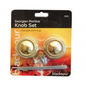 GEORGIAN MORTICE KNOB SET DOOR HANDLE FITTINGS INCLUDED DOORKNOB ROPE BRASS H25