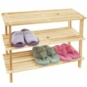Wooden Shoe Rack Organizer Storage Shelf 3 Tier Closet Compact Cabinet H28