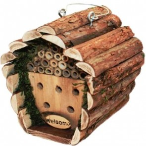 Hanging Bee Insect House Wooden Box Hotel Garden Bug Nest Keeping Nesting H29