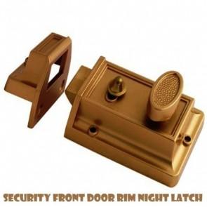 BRASS RIM NIGHT LATCH FRONT DOOR LOCK CYLINDER SET 3 KEYS 60MM REPLACEMENT H3