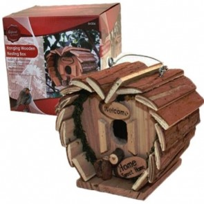 HANGING WOODEN Garden NESTING Box BIRD HOUSE HOME WOOD CHICK POULTRY H36