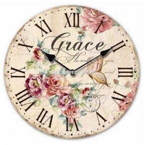 Large Grace Wooden WALL CLOCK Vintage Style Antique Roman numerals Ladies LS2