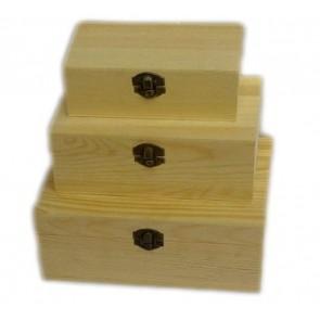 3 x Wooden Plain Boxes Pirate Treasure Chest Decoupage Art Craft Storage Box LS9