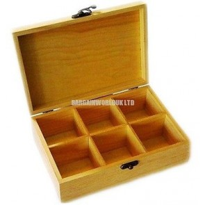 Wooden Tea Box Chest 6 Sections with Lid Compartments Container Bag Caddy LS1