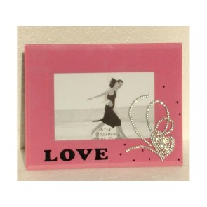 PINK LOVE PHOTO FRAME SQUARE 6 X 4 PHOTO PICTURE SHABBY CHIC CLIP STAND LS14