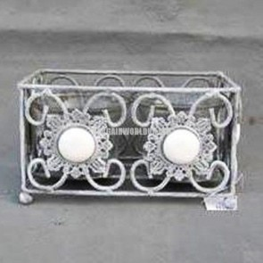 Double cube tealight candle holder Vintage Antique Grey metal brushed white LS3