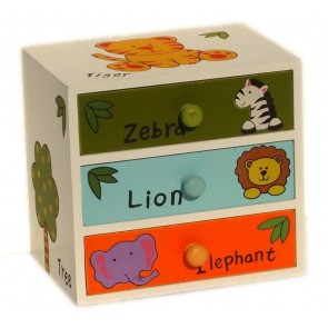 CHILDRENS ANIMALS STORAGE BOX CHEST 3 KIDS DRAWER BEDROOM CABINET WOODEN LS8