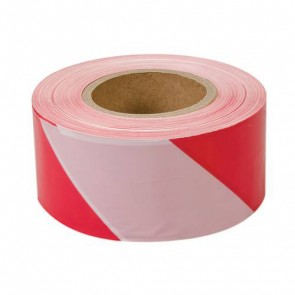 BRAND NEW BARRIER TAPE SAFETY CAUTION HAZARD 70 MM x 500 M RED WHITE P108