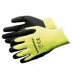 HI-VIS BUILDERS GLOVES YELLOW ONE SIZE 10 GUAGE POLYESTER COTTON MIX SAFETY P241
