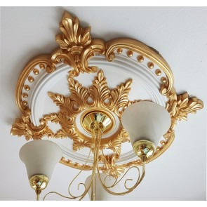 Large Beautiful Ornate GOLD Ceiling Rose Decor Victorian Medallion 72cm CR7G