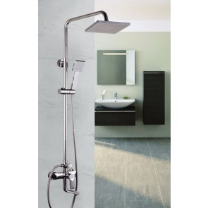 CHROME TWIN HEAD STANDING SHOWER MIXER THERMOSTATIC BATHROOM BATH SET TAP17