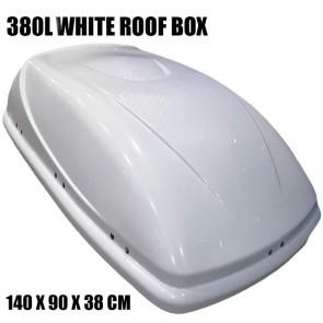 4X4 380L CAPACITY WHITE GLOSS ROOF TOP BOX LARGE CARGO TRAVEL STORAGE UNIVERSAL