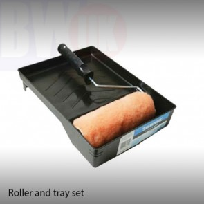 "9"" PAINT ROLLER & TRAY SET PAINTING HARD WEARING PLASTIC TRAY GRIP HANDLE S58"
