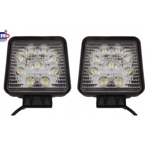 2 x 27w 9 LED Driving Work Light Flood Lamp Offroad Trailer SUV Jeep 4x4 Square