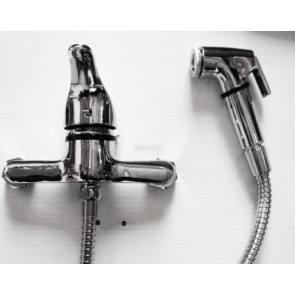 BIDET TOILET BATH MIXER TAP WITH SHOWER HAND HELD SPRAY PIPE DOUCHE CHROME -T14