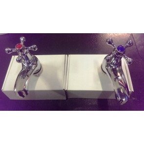 CLASSIC BASIN SINK TAPS TAP PAIR HOT COLD SET BATH CHROME STRONG TRADITIONAL T15