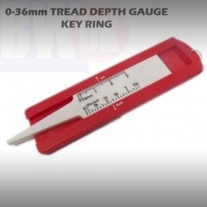 METRIC TYRE TREAD DEPTH GAUGE KEY CHAIN 0-36 mm DEPTH TYRE GAUGE KEY RING T17