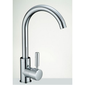 KITCHEN BASIN SINK MIXER TAP HOT LEVER SWIVEL MODERN CHROME FAUCET (T6- SINGLE)