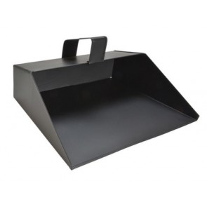 "11"" Metal Hooded Dust Pan Large Black Handheld House Work Dustpan Ash TB-FAI13"