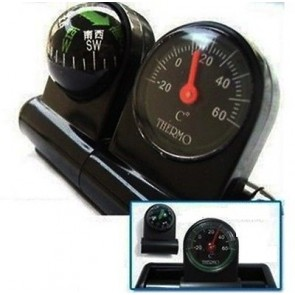 2 In 1 Removable Car Compass and thermometer Adhesive Van Truck Vehicle U46