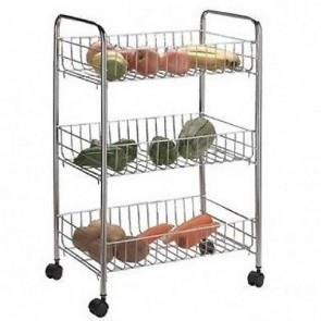 3 TIER KITCHEN CART RACK STORAGE SHELF CADDY FRUIT VEGETABLE TROLLEY WHEELS U66