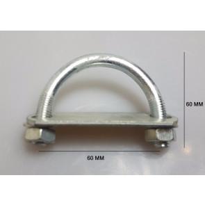 1x Steel Oval Round U-Bolts Brackets Boat Trailer 60x60x10mm M10 Nut Plate UBR-60A