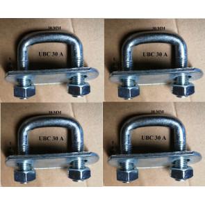 4 x square U-bolt u bolts Brackets Boat trailer 30x50x10mm Nuts & Plate UBS-30A