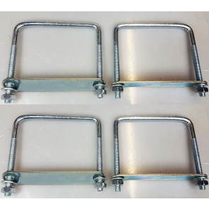 4 x square U-bolt Brackets for Boat trailer 120x120x10mm Nuts & Plate UBS-120C