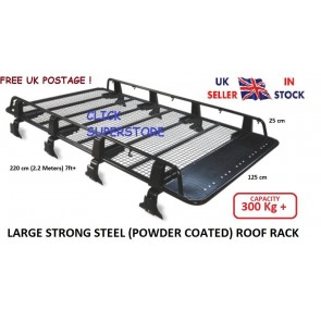 2.2m Steel Heavy Duty Large Roof Rack Platform Luggage Carrier Tray 4x4 SUV Minibus Caravan Discovery van fits Toyota Discovery Landrover Fiat Ducati Master