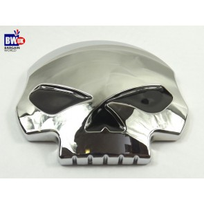 SKULL SKELETAL CHROME DECORATIVE ADHESIVE CHROME ABS CAR BADGE EMBLEM 80MM (Z51)