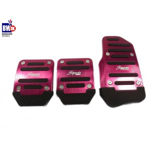3 PIECE CAR FOOT COVERS PINK RED METAL SPORTS PEDALS PLATES UNIVERSAL FIT (Z81)